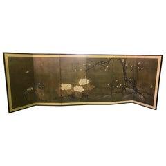 Japanese Asian Six-Panel Folding Byobu Nature Floral Bird Screen, 19th Century