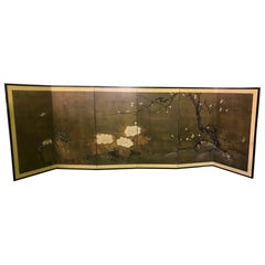 Japanese Asian Six-Panel Folding Byobu Nature Floral Bird Screen, 19th Century