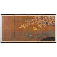 Japanese Autumn Maple Four-Panel Byobu Screen