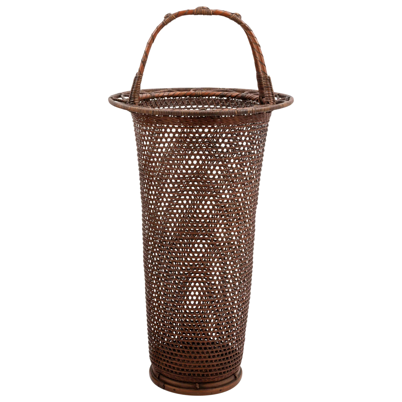 Japanese Bamboo Basket Ikebana by Yamashita Kochikusai