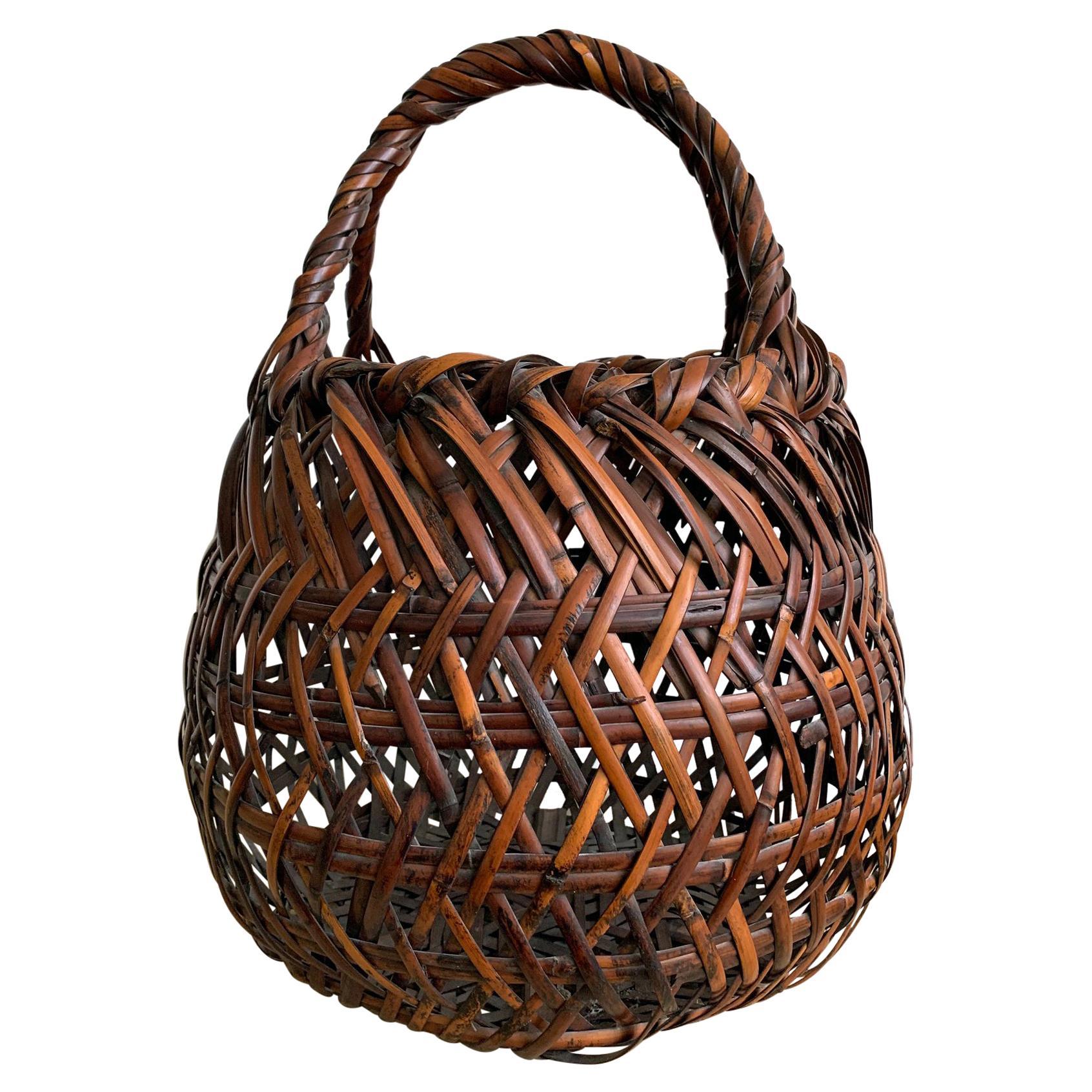 Japanese Bamboo Ikebana Basket by Yamamoto Chikuryosai I Shoen