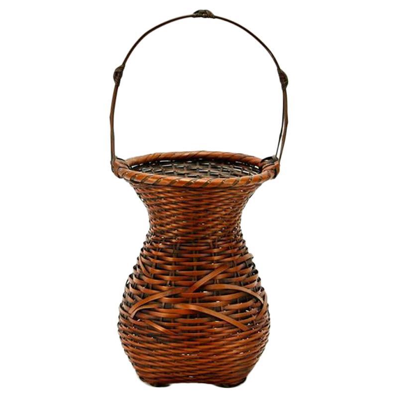 Japanese Bamboo Ikebana Basket by Yufu Shohaku