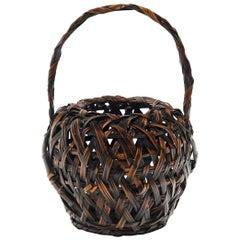Japanese Bamboo Ikebana Basket, circa 1900