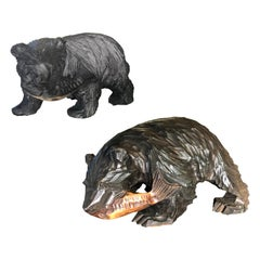 Japanese Bears and Salmon Catch Pair Hand Carved