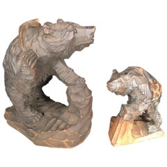 Japanese Bears and Salmon Catch Fine Pair Hand Carved Cryptomeria Wood, Ainu