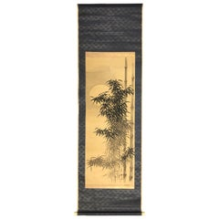 """Japanese """"Beautiful Bamboo at Midnight"""" Fine Hand Painted Scroll Signed"""
