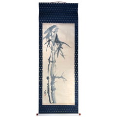 """Japanese """"Beautiful Bamboo"""" Fine Hand Painted Scroll Signed and Double Boxed"""