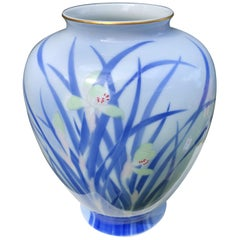 Japanese Big Antique Blue and White Iris Vase Hand Painted, Signed Box