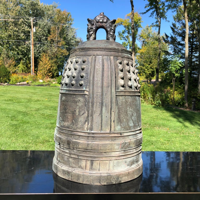 A best find from our recent Japanese Kyoto Travels  Japanese large, substantial antique solid cast bronze temple bell Bonsho with beautiful deep brown and handsome patina from great age. Signed in honor of a caring donor whose family undoubtedly
