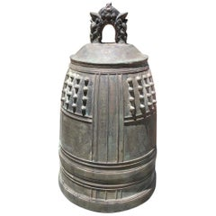 Japanese Big Antique Bronze Bell with Period Signature, Bold Sound