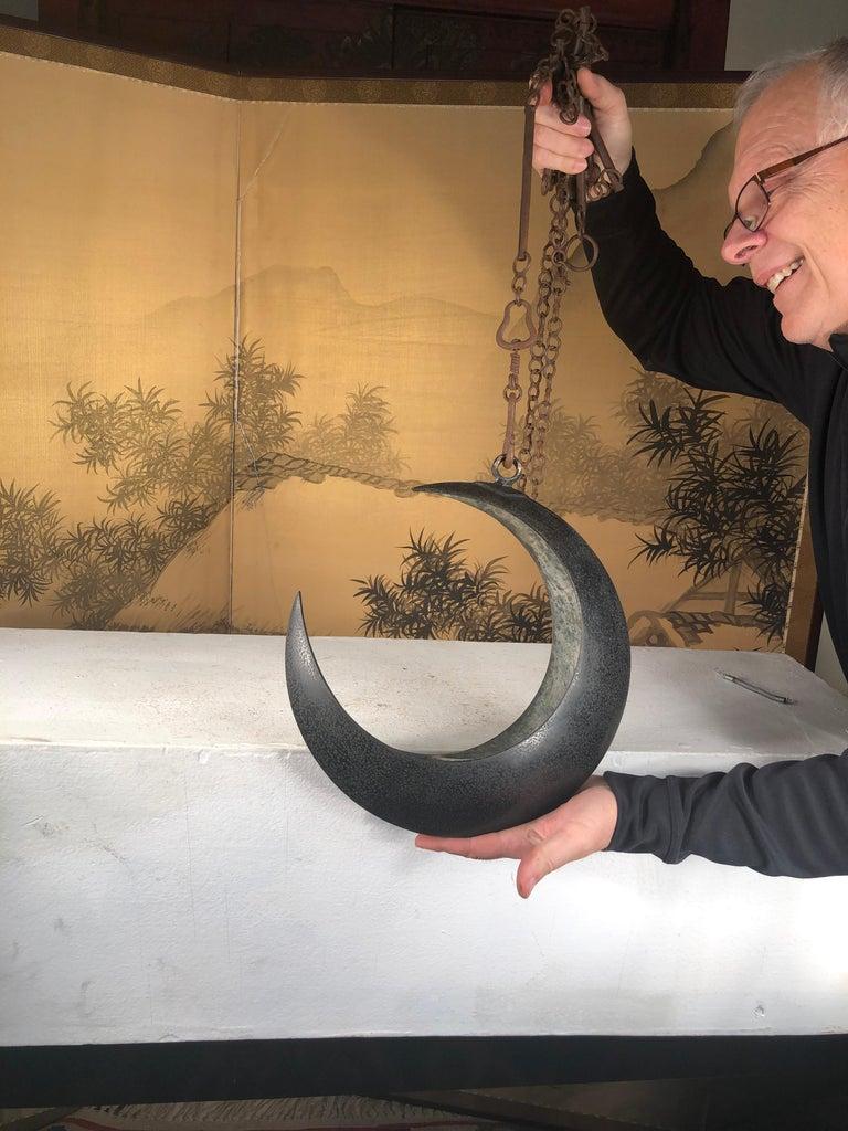 Japanese Big Antique Bronze Crescent Moon Lantern and Planter For Sale 8