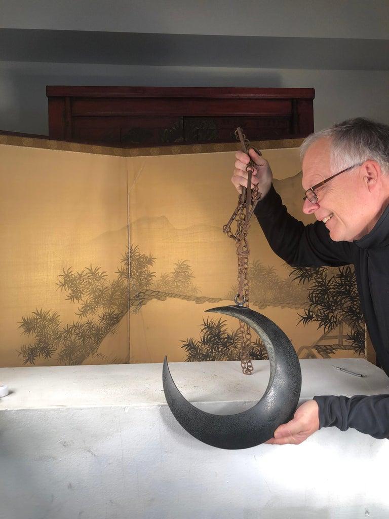 Taisho Japanese Big Antique Bronze Crescent Moon Lantern and Planter For Sale