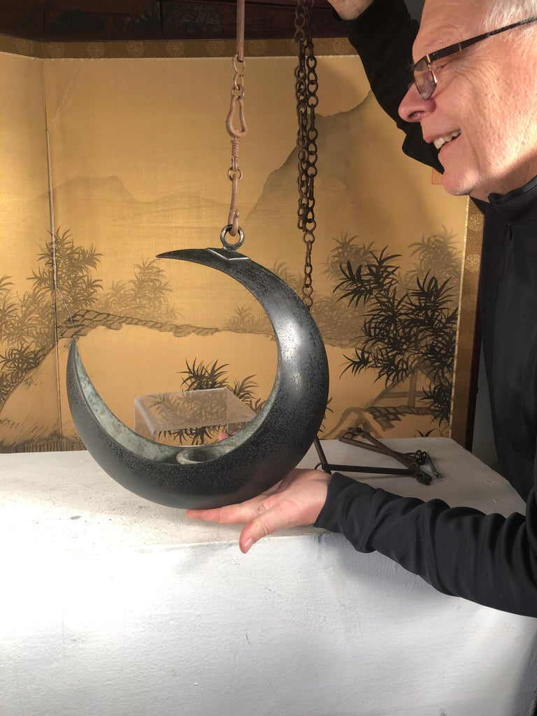 Japanese Big Antique Bronze Crescent Moon Lantern and Planter In Good Condition For Sale In Shelburne, VT