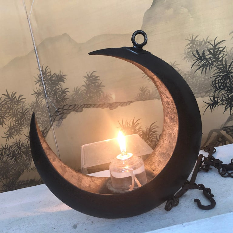 From Our Recent Japanese Acquisitions  From Japan comes this big beautiful and antique hand cast crescent moon lantern or ikebana vase in a large scale size complete with a fine antique handwrought 96