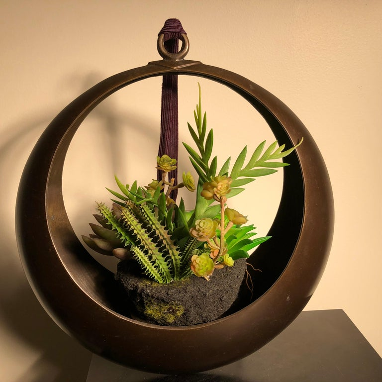 Taisho Japanese Big Antique Bronze 'Moon Vase' Hanging Flowers Lovely Patina and Detail For Sale