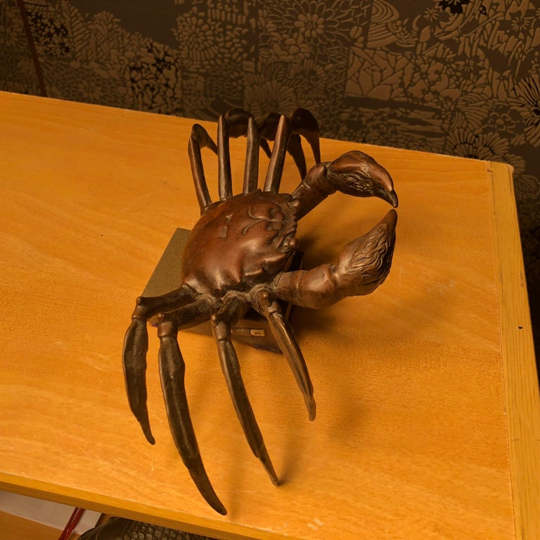 Japanese Big Antique Cast Eight-Legged Crab 100 Year Okimono Sculpture Kyoto For Sale 3