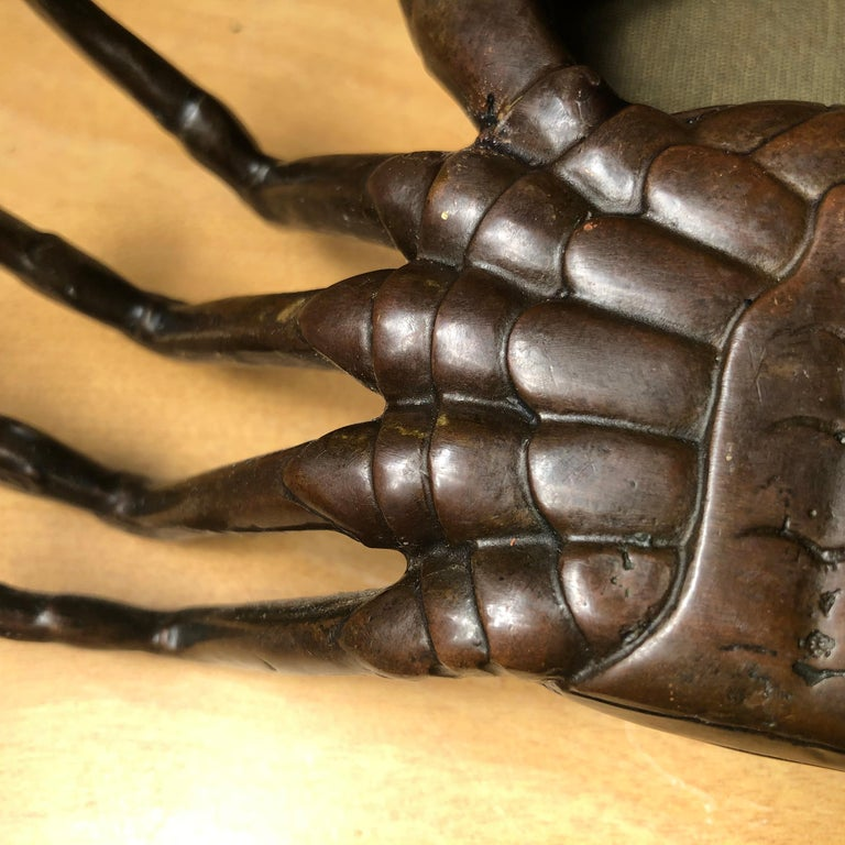 Japanese Big Antique Cast Eight-Legged Crab 100 Year Okimono Sculpture Kyoto For Sale 5