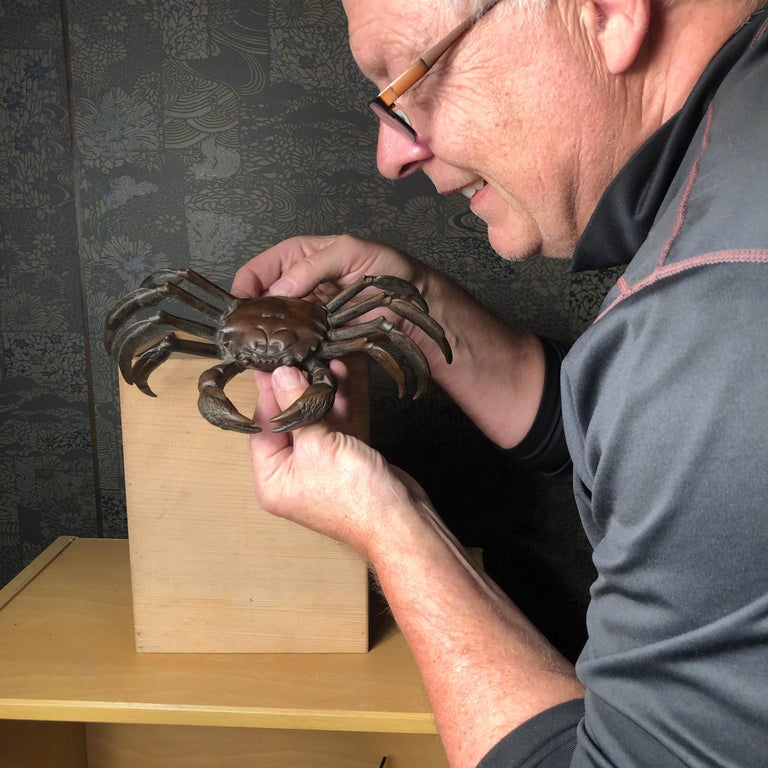 From our recent Japanese Kyoto New Acquistions Travels  A fine genuinely antique Japanese hand wrought and hand cast copper eight-legged crab Okimono sculpture from an old Kyoto collection. Very fine condition. Today these older works of art serve