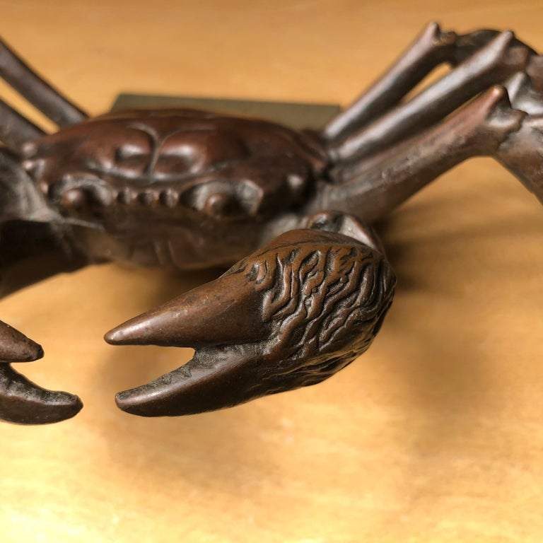 Copper Japanese Big Antique Cast Eight-Legged Crab 100 Year Okimono Sculpture Kyoto For Sale