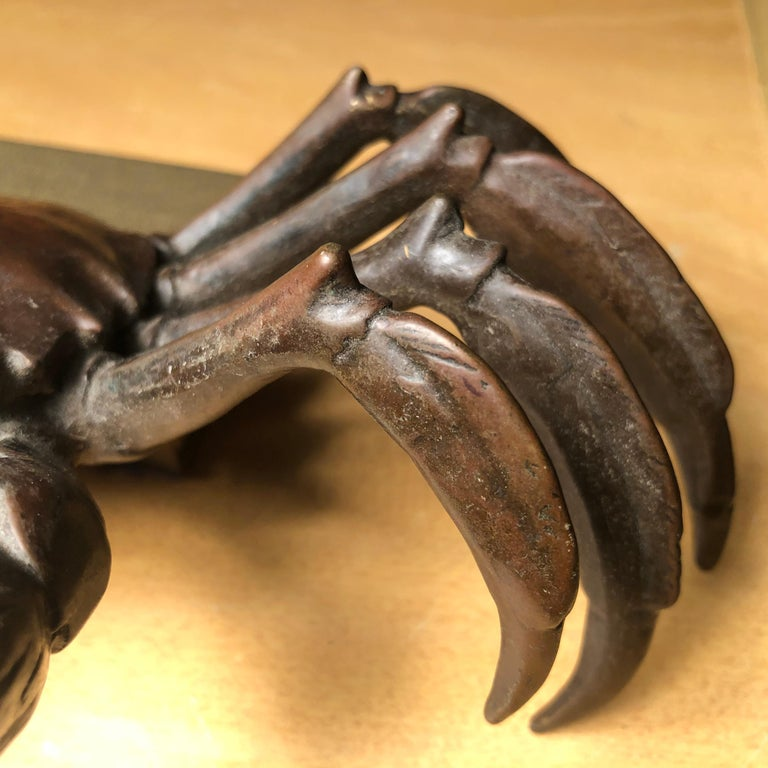 Japanese Big Antique Cast Eight-Legged Crab 100 Year Okimono Sculpture Kyoto For Sale 1