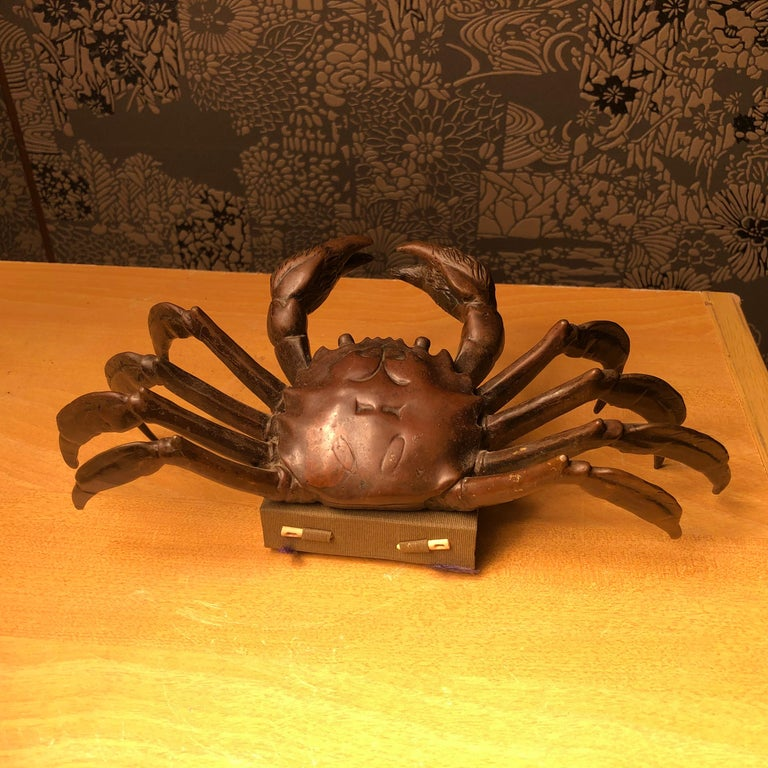 Japanese Big Antique Cast Eight-Legged Crab 100 Year Okimono Sculpture Kyoto For Sale 2
