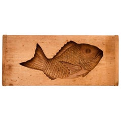 "Japanese Big Antique Cherry Wood ""Fish"" Sugar Cake Celebrations Sculpture, 20"""