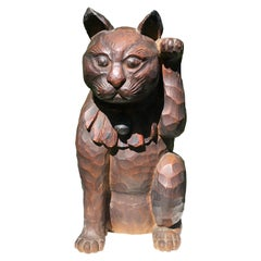 Japanese Big Fortune Money Cat, Hand Carved and Signed