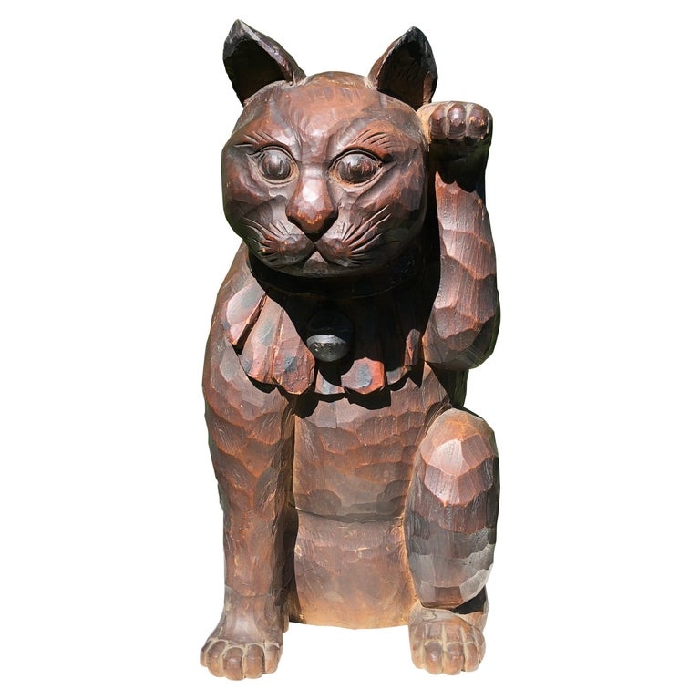 Japanese Big Fortune Money Cat, Hand Carved and Signed For Sale