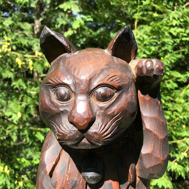 Lacquered Japanese Big Fortune Money Cat, Hand Carved and Signed For Sale