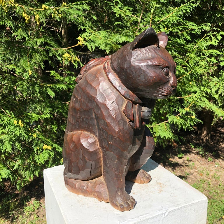 Japanese Big Fortune Money Cat, Hand Carved and Signed For Sale 1