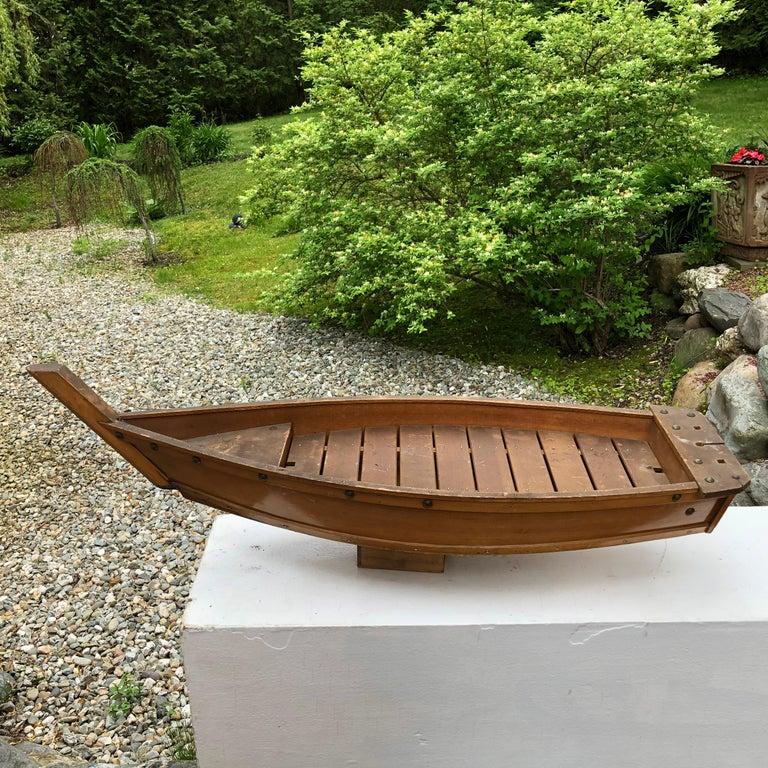 Showa Japanese Big Hand Carved Boat Fune, Ikebana or Sushi Anyone For Sale