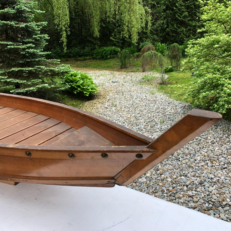 Japanese Big Hand Carved Boat Fune, Ikebana or Sushi Anyone In Good Condition For Sale In Shelburne, VT