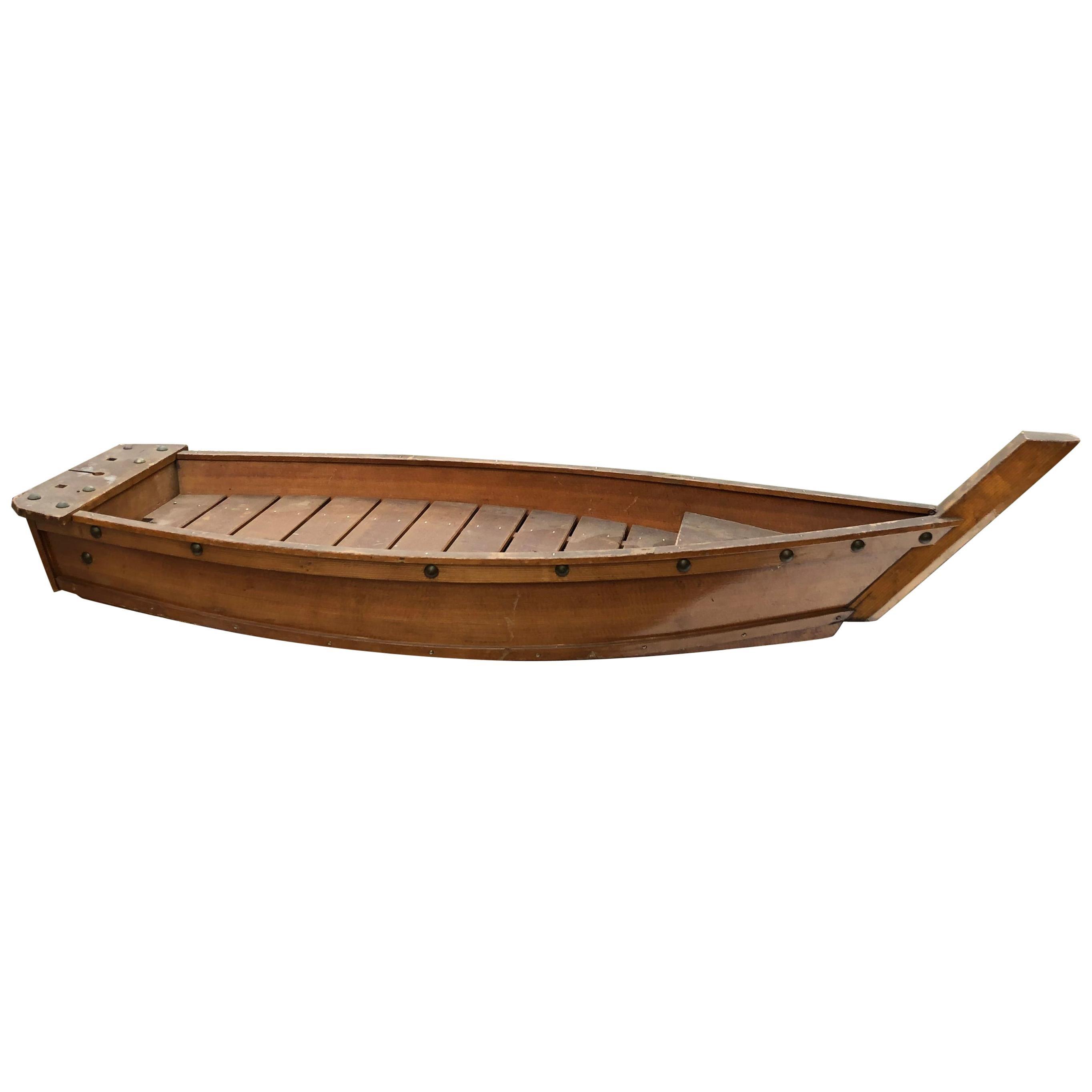 Japanese Big Hand Carved Boat Fune, Ikebana or Sushi Anyone