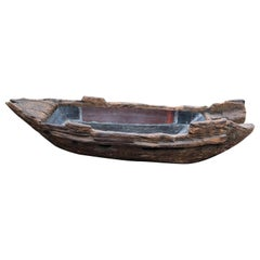 Japanese Big Antique Hand Carved Ikenobu Boat 19th Century, Boxed Hard to Find