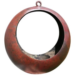 "Japanese Big Antique Red Bronze ""Full Moon"" Lantern Planter"