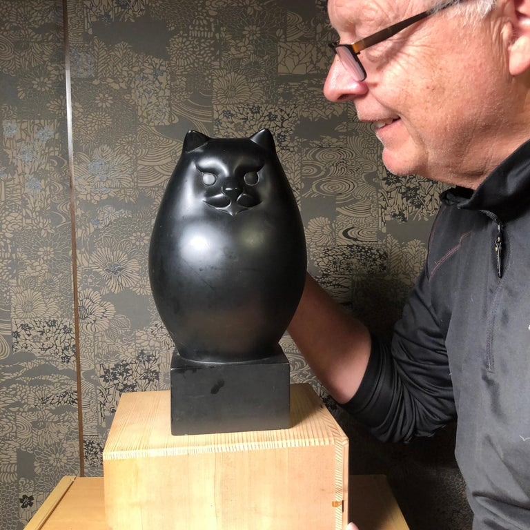 From our recent Japanese Kyoto acquisitions  Found in Japan, this tall bulbous black cat beautifully executed in an attractive Art Deco style. Signed. Superb and heavy casting.   In Japan, there are also cats described as Maneki Neko, also referred