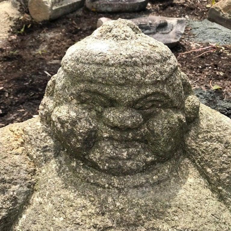 Taisho Japanese Big Hand-Carved Garden Stone  Ebisu Fish God of Business Prosperity For Sale
