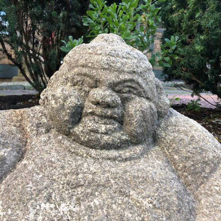 Taisho Japanese Big Hand Carved Garden Stone Ebisu Fish God of Business Prosperity For Sale