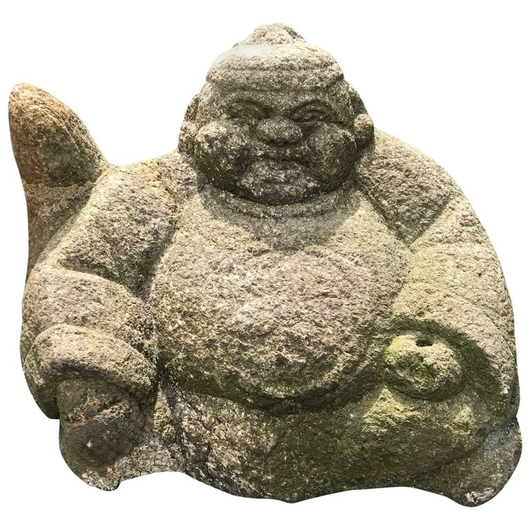 Japanese Big Hand-Carved Garden Stone  Ebisu Fish God of Business Prosperity For Sale