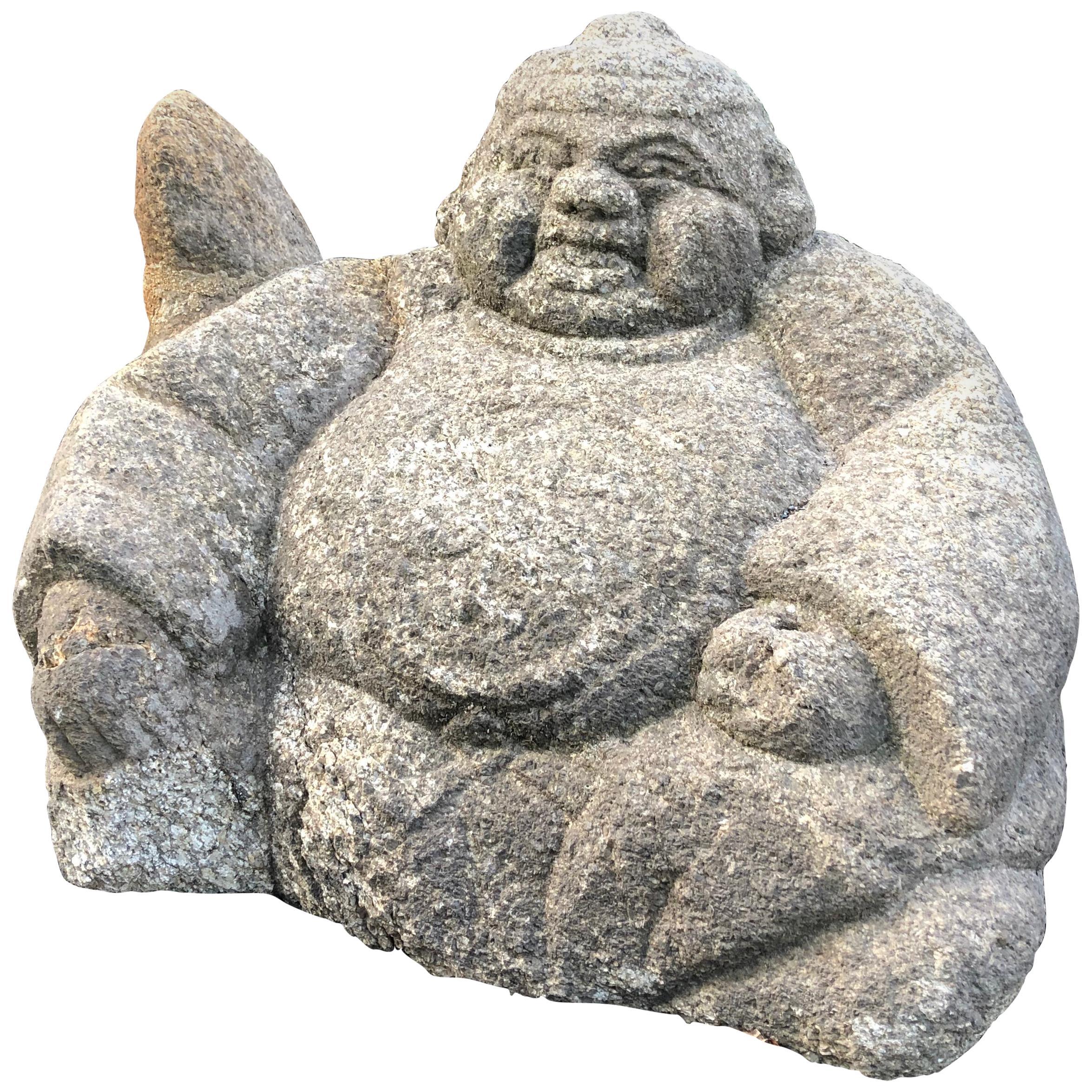 Japanese Big Hand Carved Garden Stone Ebisu Fish God of Business Prosperity