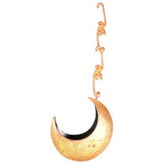 """Japanese Big Red Bronze """"Crescent"""" Hanging Flower Vase with Two Monkey Hangers"""