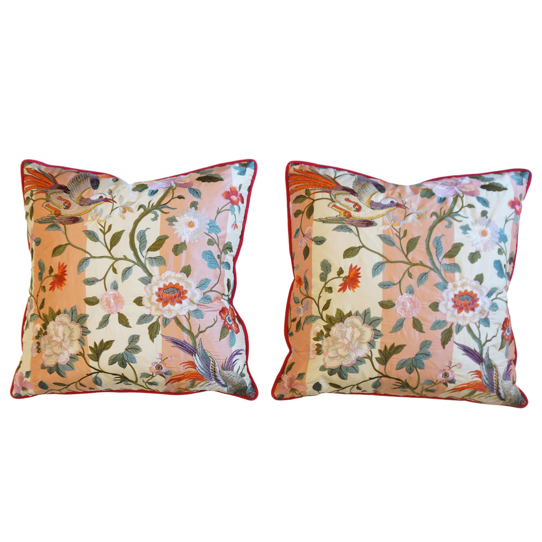 Japanese Bird Motif Throw Pillows