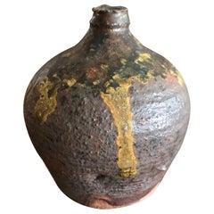 Japanese Bizen Yaki Ware Signed Stamped Meiji Vase Pot