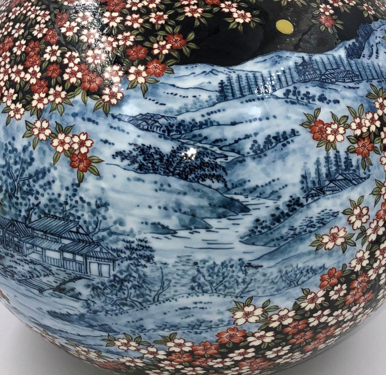 Black Blue Red Porcelain Vase by Japanese Contemporary Master Artist In New Condition For Sale In Vancouver, CA