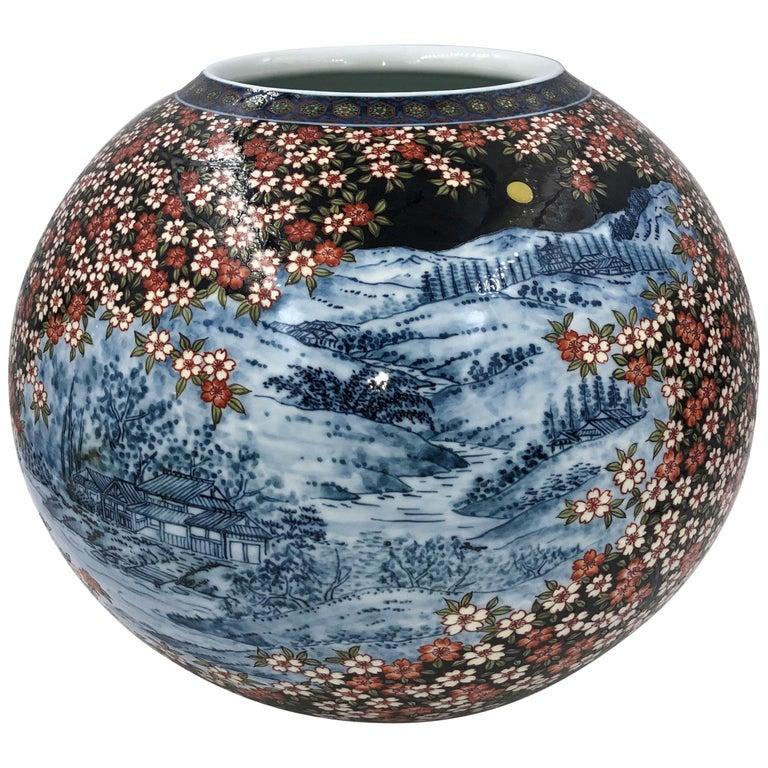 Black Blue Red Porcelain Vase by Japanese Contemporary Master Artist For Sale