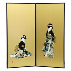 Japanese Black Green Silk Brocade Two Panel Folding Screen