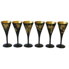 Japanese Black Lacquer and Gold Sake, Champagne, or Wine Stemware, Set of 6