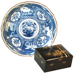 Japanese Black Lacquer Box Together with a Blue and White Arita Plate