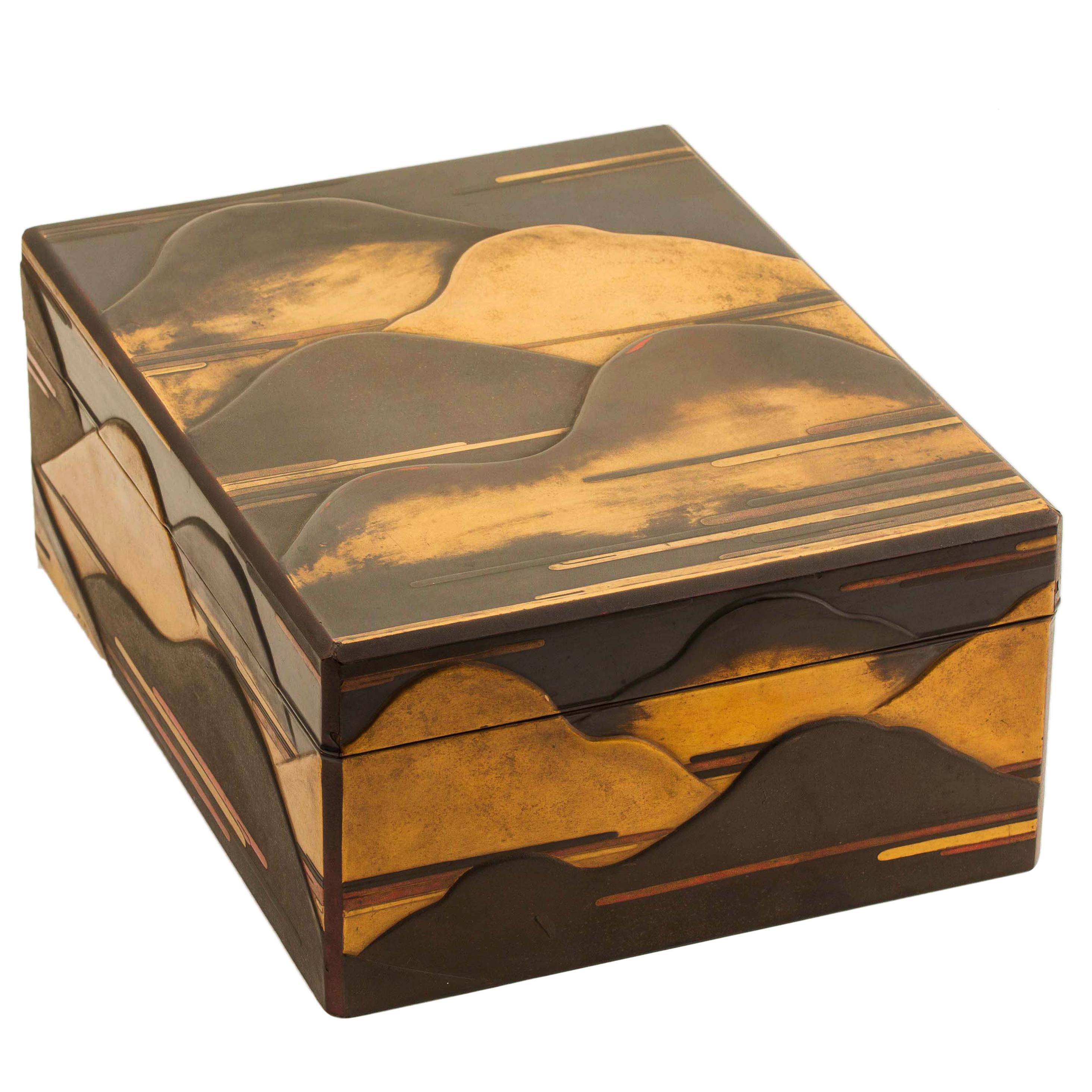 Japanese Black Lacquer Document Box with Mountain Design in Maki-e, Edo Period