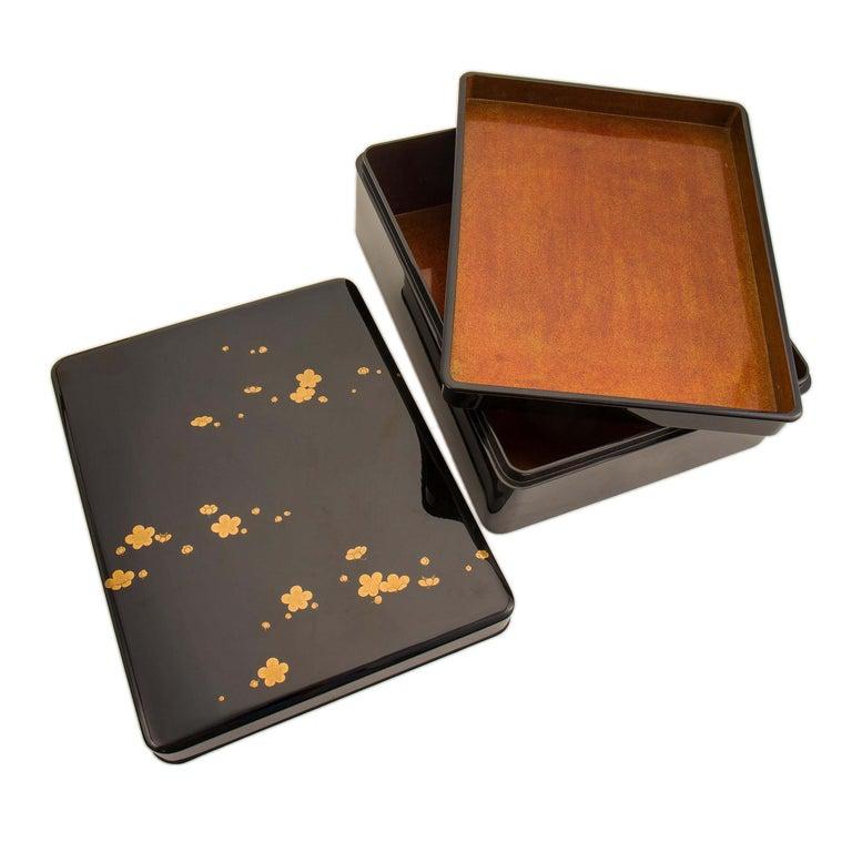 Gilt Japanese Black Lacquer Document Box with Plum Blossom Design, Taisho Period For Sale